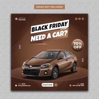 Nowoczesny post na instagramie w czarny piątek wypożyczalni samochodów i szablon mediów społecznościowych