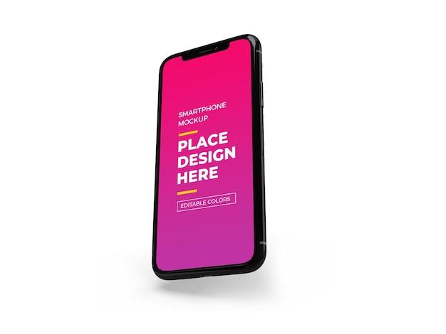Nowoczesny projekt makieta smartfona na białym tle