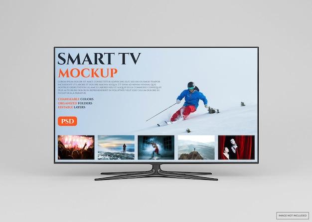 Nowoczesny projekt makiety inteligentnego telewizora na białym tle