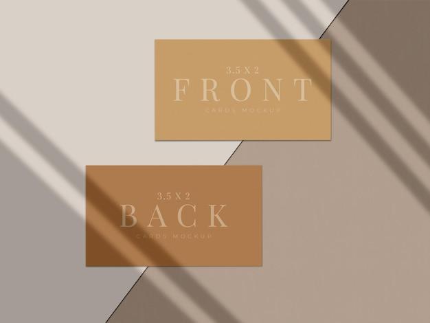 Nowoczesny projekt makiety wizytówki do brandingu prezentacji, identyfikacji wizualnej, osobistej z nakładką cienia