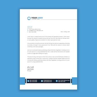 Nowoczesny projekt szablonu papieru firmowego w kolorze niebieskim