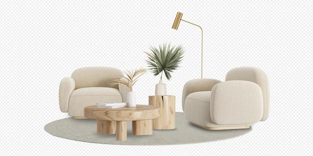 Nowoczesny salon z dwoma fotelami i dekoracją