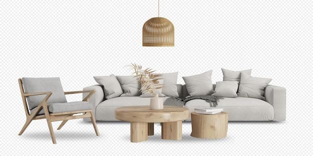 Nowoczesny salon z sofą i dekoracjami