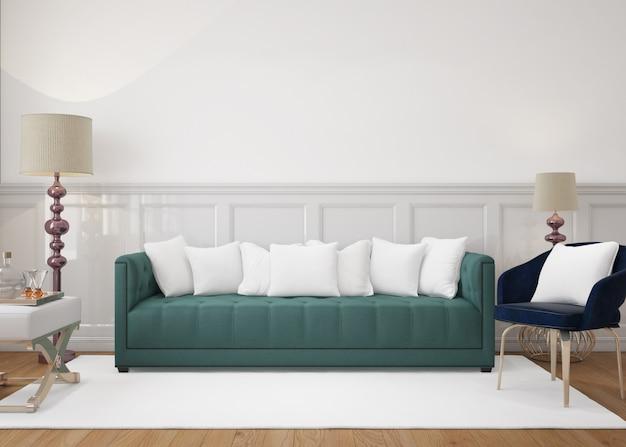 Nowoczesny salon z sofą i poduszkami makiet