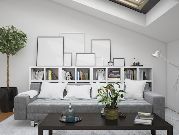 Nowoczesny salon z sofą i ramami makiety
