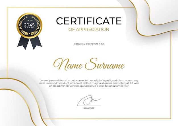 Nowoczesny szablon certyfikatu uznania garnitur dla potrzeb biznesowych i edukacyjnych