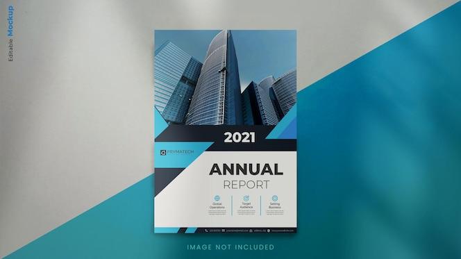 Nowoczesny szablon makiety broszury rocznej z abstrakcyjnymi niebieskimi kształtami