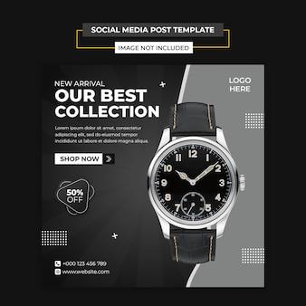 Nowoczesny zegarek mediów społecznościowych i szablon postu na instagramie