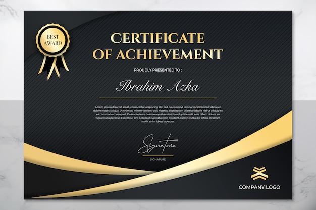 Nowoczesny złoty certyfikat osiągnięcia szablonu