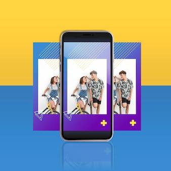 Nowożytny instagram poczta szablon z smartphone