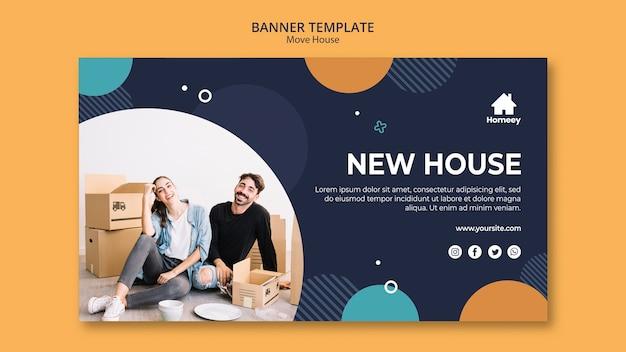 Nowy dom nowy szablon transparent początek