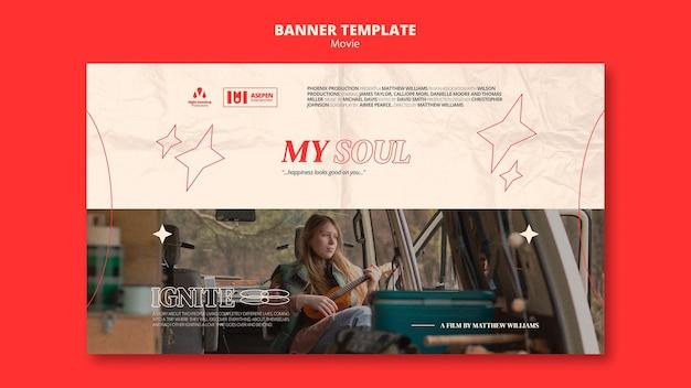 Nowy Poziomy Baner Filmowy Premium Psd