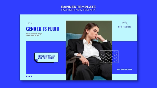Nowy poziomy baner mody kobiecości
