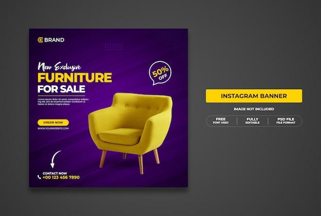 Nowy promocyjny baner internetowy lub szablon banera na instagramie na sprzedaż ekskluzywnych mebli