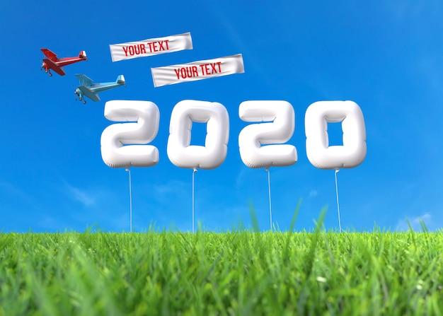Nowy rok 2020 wykonany z balonów na boisku