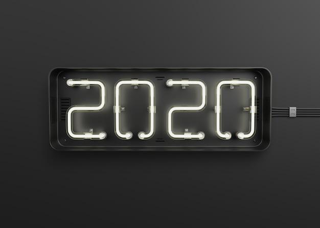 Nowy rok 2020 wykonany ze światła neonowego