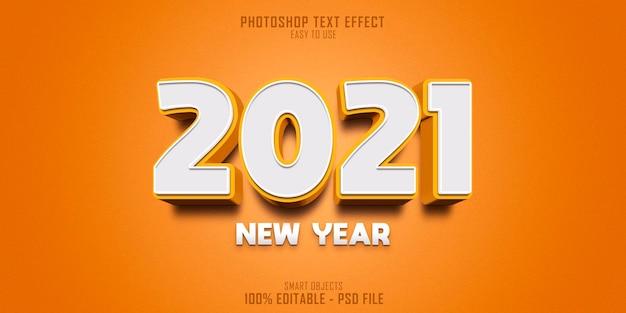 Nowy rok 2021 szablon efekt stylu tekstu 3d