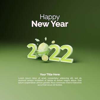 Nowy rok 2022 post projekt z 3d renderowania cytryny na zielonym tle