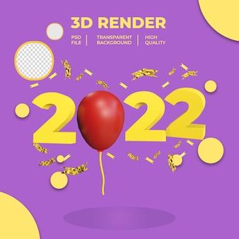 Nowy rok 2022 z balonem i konfetti