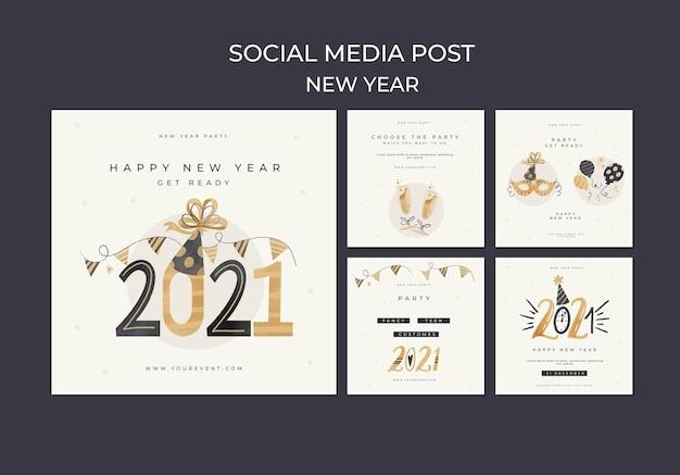 Nowy rok koncepcja szablon postu w mediach społecznościowych