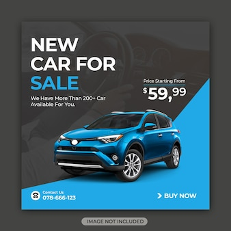 Nowy rok sprzedaży samochodów post w mediach społecznościowych lub szablon banera internetowego na instagramie
