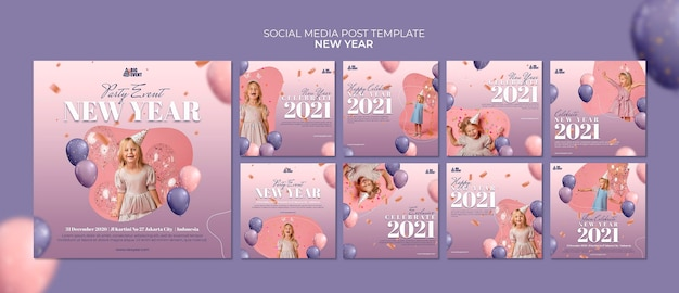 Nowy rok szablon postu w mediach społecznościowych
