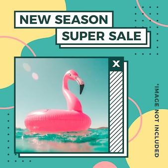 Nowy sezon super wyprzedaż letni baner o kwadratowym rozmiarze w stylu memphis