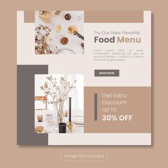 Nowy szablon banera postu na instagram menu żywności