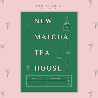 Nowy szablon plakatu herbaciarni matcha