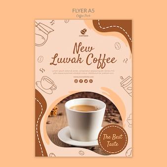 Nowy szablon wydruku ulotki z kawą