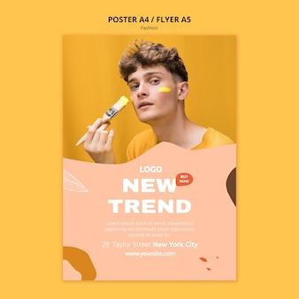 Nowy trend plakat szablon mody męskiej