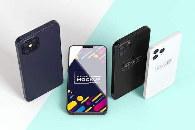 Nowy zestaw telefonów pod wysokim kątem