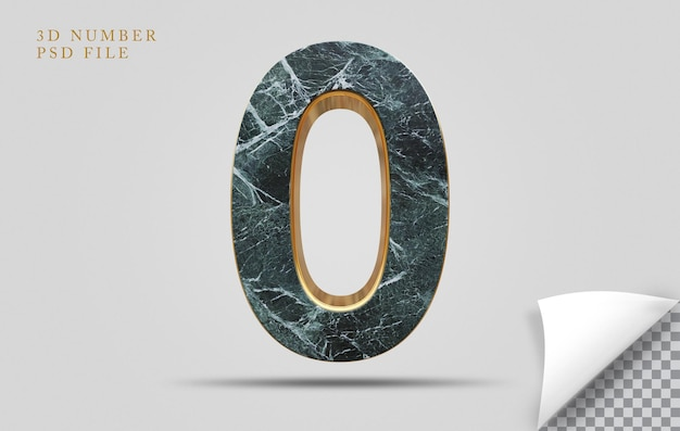 Numer 0 3d render tekstury kamienia ze złotym