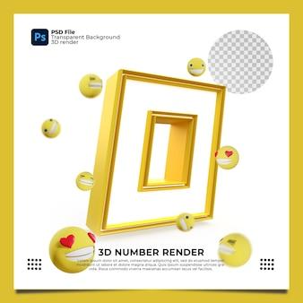 Numer 0 3d renderuj żółty kolor z elementami