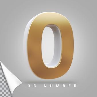 Numer 0 renderowania 3d złoty