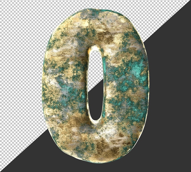 Numer 0 (zero) ze starego, zardzewiałego zestawu do kolekcji metalowych cyfr. odosobniony. renderowanie 3d