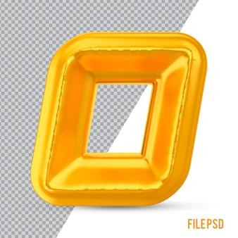 Numer 0 złote renderowanie 3d