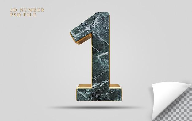Numer 1 3d render tekstury kamienia ze złotym