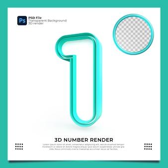 Numer 1 3d render zielony kolor z elementami