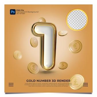 Numer 1 3d render złoty styl z elementem