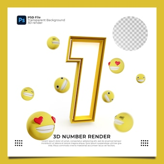 Numer 1 3d render żółty kolor z elementami