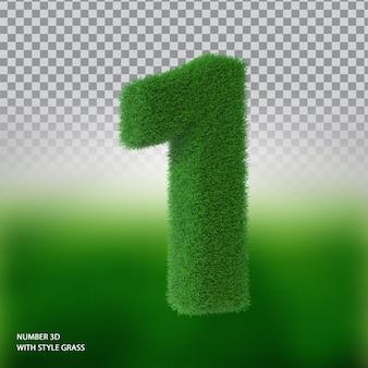 Numer 1 3d ze stylową trawą