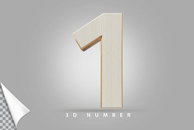 Numer 1 renderowania 3d złoty w stylu drewna