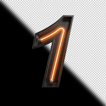 Numer 1 wykonany z neon light