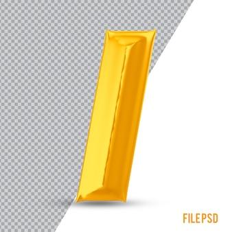 Numer 1 złote renderowanie 3d