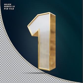 Numer 1 Złoty Luksusowy Render 3d Premium Psd