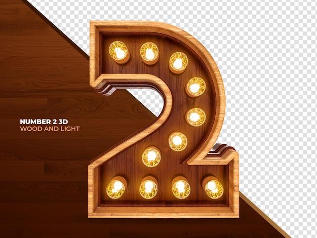 Numer 2 3d render drewna z realistycznymi światłami