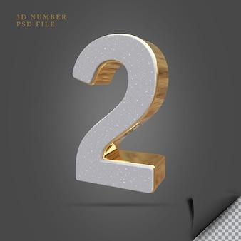Numer 2 3d render kamień ze złotym