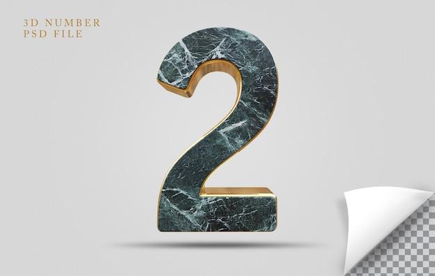 Numer 2 3d render tekstury kamienia ze złotym