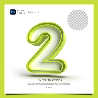 Numer 2 3d render zielony kolor